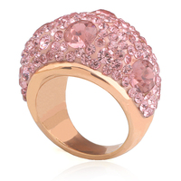 Rose Gold Plated Stainless Steel Romantic Austrian Pink Crystal Engagement Rings For Women Jewelry