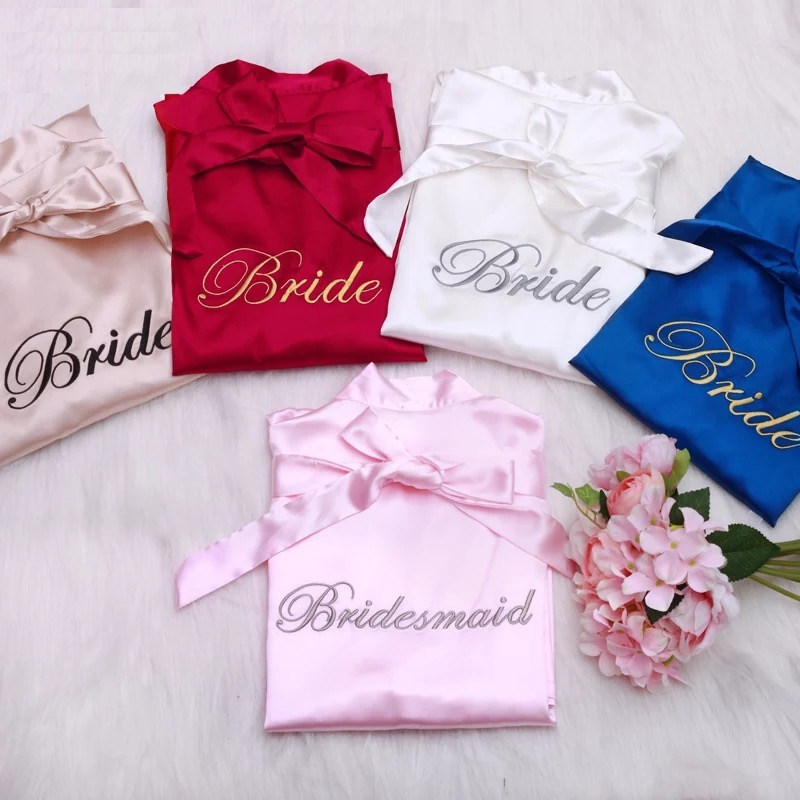 ae67459805 4pcs lot Embroidery Logo Maid of Honor Bride custom Satin Robe Wedding  bridal shower party Bridesmaid gift personalized robes