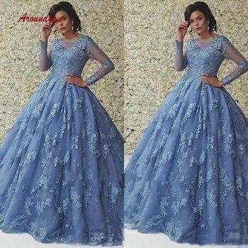 92892f40c1 De manga larga de encaje vestidos Quinceanera vestido de tul baile de  Debutante dulce 16 vestido vestidos de 15 años