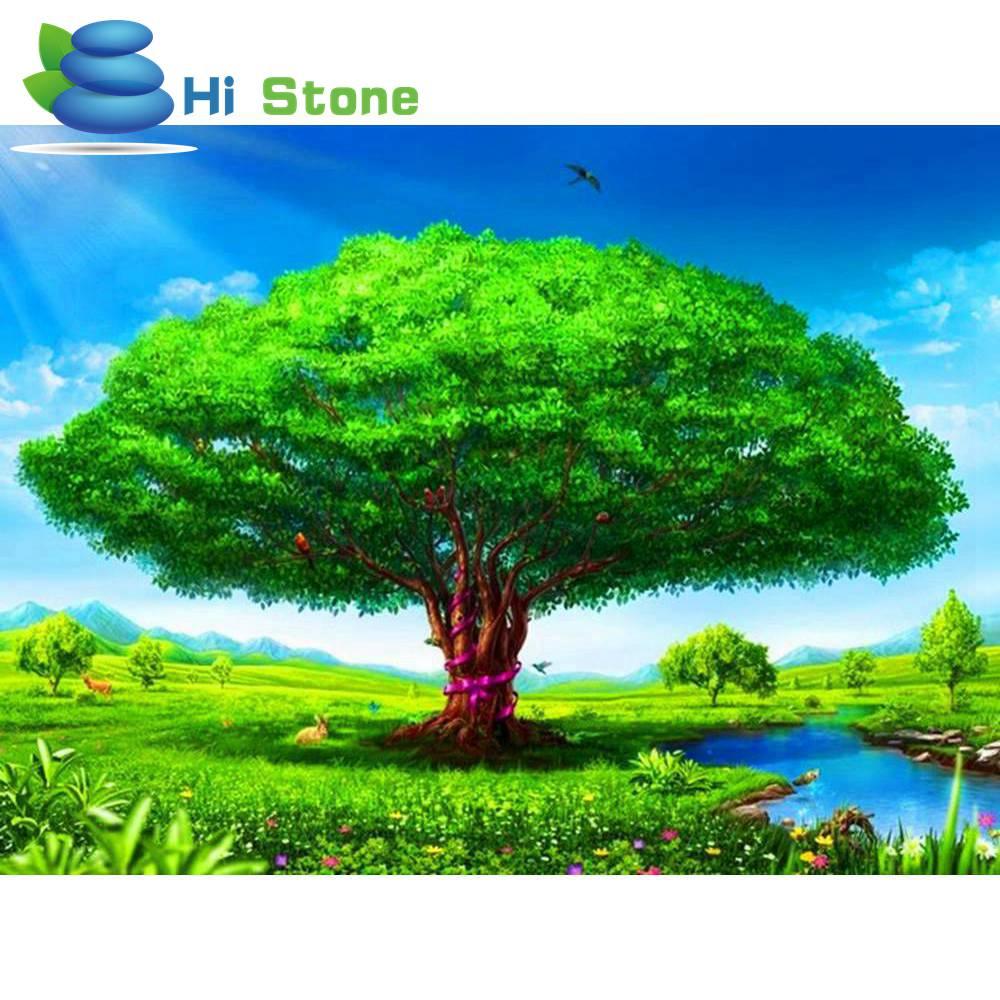 5D, Алмазный Вышивка, вышивки крестом, алмазная Краски Ing, 3D, Полный Круглый, зеленое дерево, река, пейзаж Краски, Домашний декор, подарок