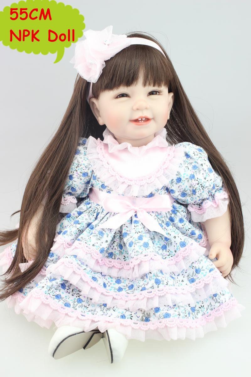 22 Inch Mode Silikon Reborn Kleinkind Mädchen Puppe Schöne Prinzessin In Süße Floral Rock Bebe Kinder Mädchen Interaktives Spielzeug Brinquedo-in Puppen aus Spielzeug und Hobbys bei  Gruppe 1