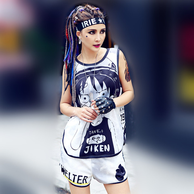 just.be.never harajuku kawaii vest shorts suit cartoon fitness women  tracksuit korean two pieces sets hippie summer pole shorts 3083f987ab83