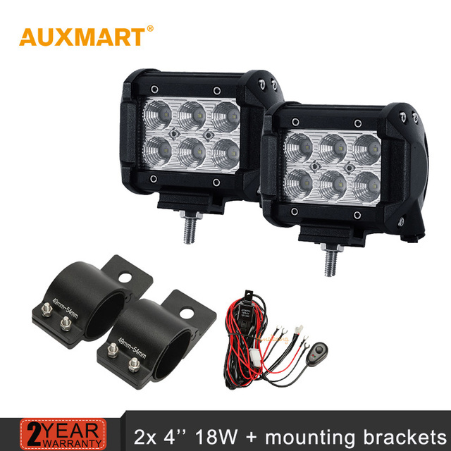 Auxmart 4 inch 18w led work light bar offroad flood spot beam bar auxmart 4 inch 18w led work light bar offroad flood spot beam bar lights 2x aloadofball