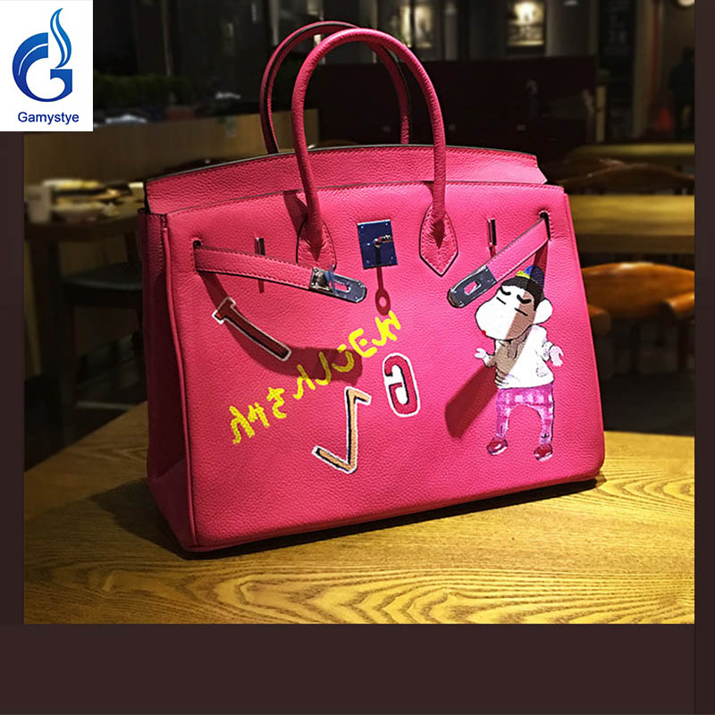 2018 New Stylish Pink Genuine Leather Bags Art Oil Cartoon Hand Bags Togo Leather Crossbody Messenger Bags Big Casual Totes Y art hand printed bags for women 2018 100% genuine leather top handle bags high capacity vintage casual totes togo leather bag y