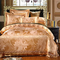 ywxuege Luxury Jacquard Silk 4pcs Silk/cotton jacquard lace wedding bed sheet set Quilt/comforter cover pillowcase set