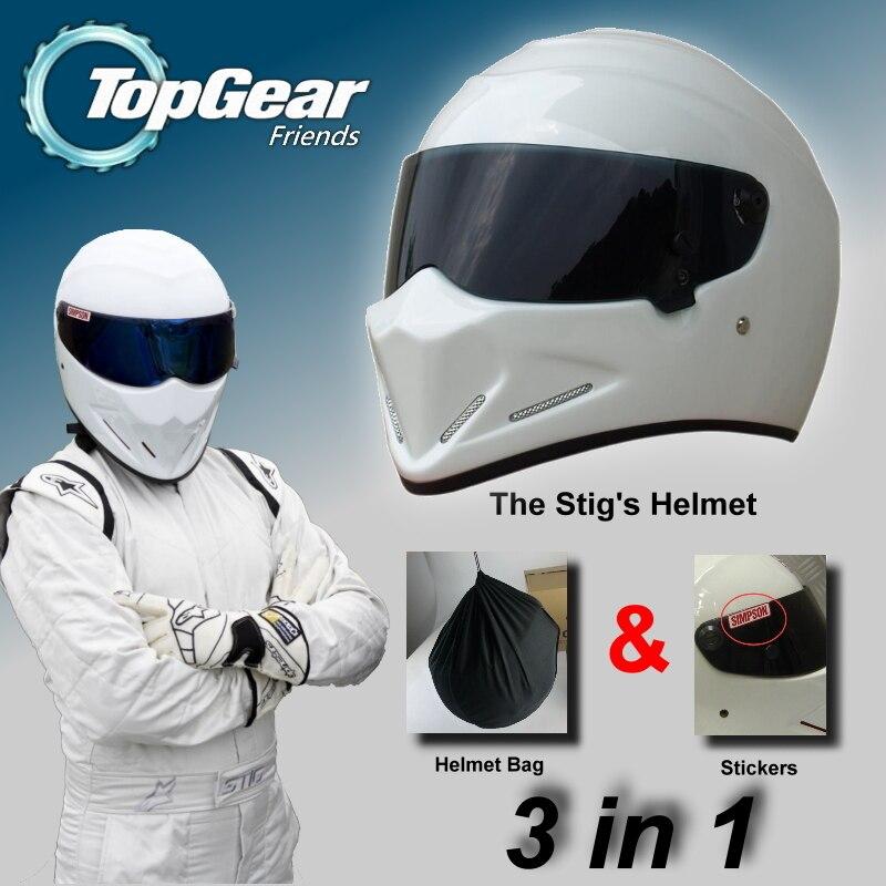 Для Стопдиар Стиг шлем + Сумка + Симпсон стикер 3 в 1 / Белый шлем capacete КАСКО де с черным козырьком Топ Гир магазин