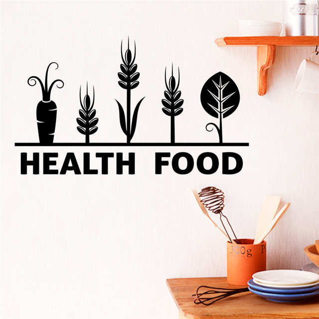 Health Food Quotes Wall Stickers For Restaurant Dining Room Kitchen