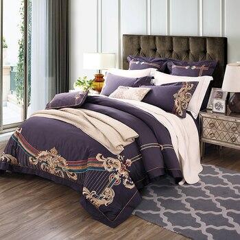 Elegant Bedding Sets | Elegant Purple Egyptian Cotton Luxury Embroidery King Queen Size 4/6pcs Bedding Sets Duvet Cover Flat Sheet Pillowcase