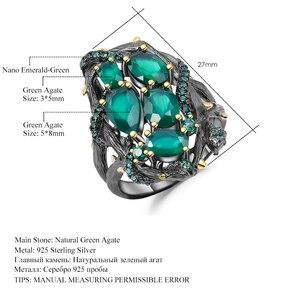 Image 5 - Женское кольцо с полым элементом gembs, натуральный зеленый агат из серебра 925 пробы, ювелирное изделие ручного изготовления, натуральный камень