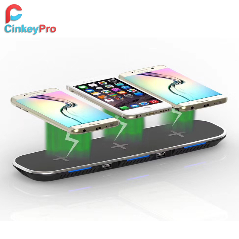 CinkeyPro QI Wireless Charger Station 3*Mobile Phone Charging & 2 Ports USB Table Dock for iPhone 8 10 X Samsung S6 S7 S8