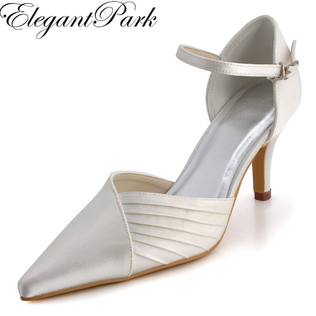 6e20f6ca5 EP11118 Women Wedding Bridal Shoes Pointed Toe High Heel Ankle Strap Satin  Lady Bride bridesmaids Prom Party Evening Pumps White