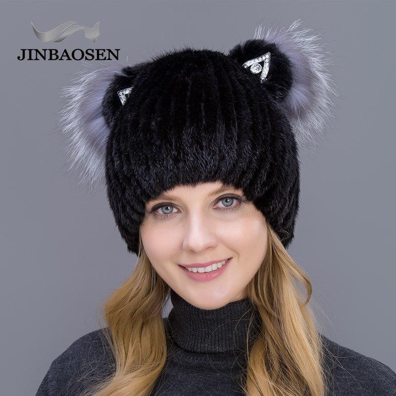 JINBAOSEN 2019 Fashion Young Female Fox Fur Hat Suede Hat Winter Ski Cap Cat Ears Style Shopping Shopping Casual Hat