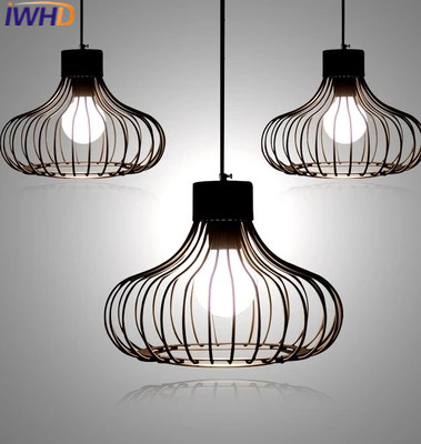 IWHD Nordic Style Modern Pendant Lights LED Creative Iron Cage Hanging Lamp Single White Black Lamparas Fashion Dining Hanglamp creative modern led pendant lights annulus single head hanging lamp dining room livingroom pendant lights 110v 220v warm white