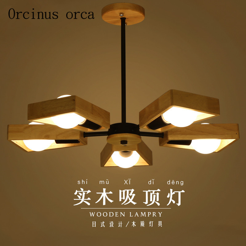 The Nordic Contracted Solid Wood Lamp Led Log Absorb Dome Light Sitting Room The Bedroom Light Wooden Lamps And Lanterns Lights & Lighting Ceiling Lights & Fans