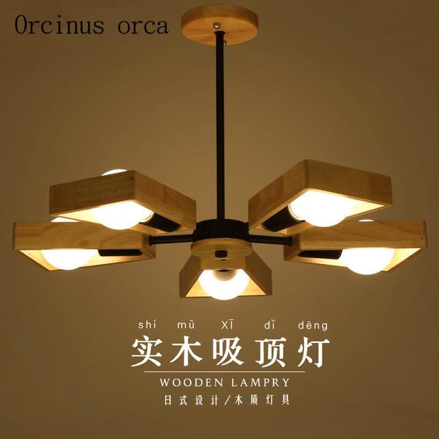 € 100.93 |Lustre en bois massif nordique créatif moderne minimaliste japonais log salon lampe restaurant lustre affranchissement gratuit dans Lampes