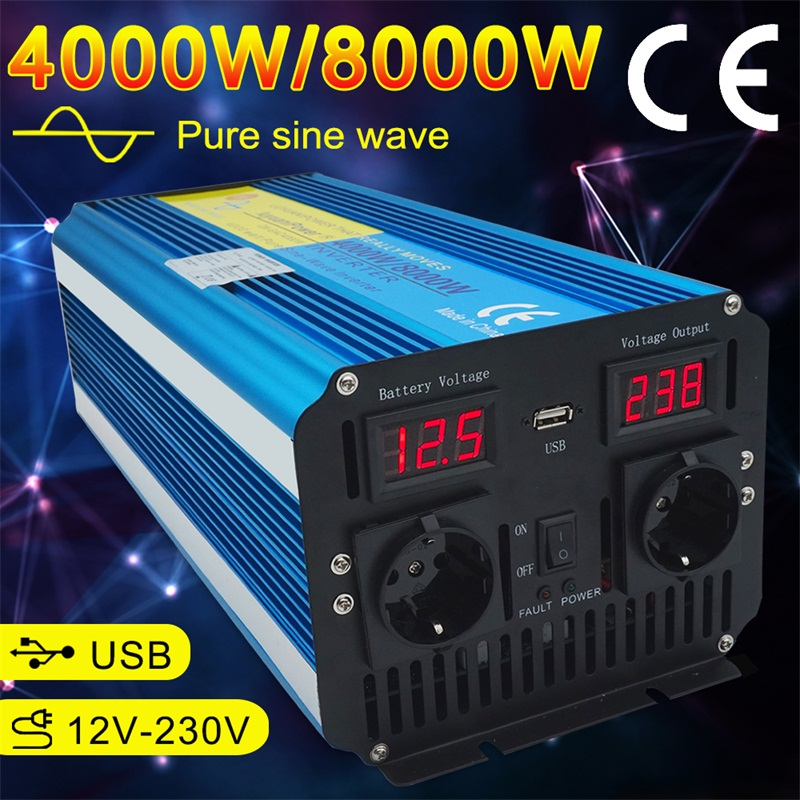Dual LED Display 8000W Pure Sine Wave Power Inverter DC 12V/24V TO AC 220V/230V/240V With 3.1A USB Dual EU Socket