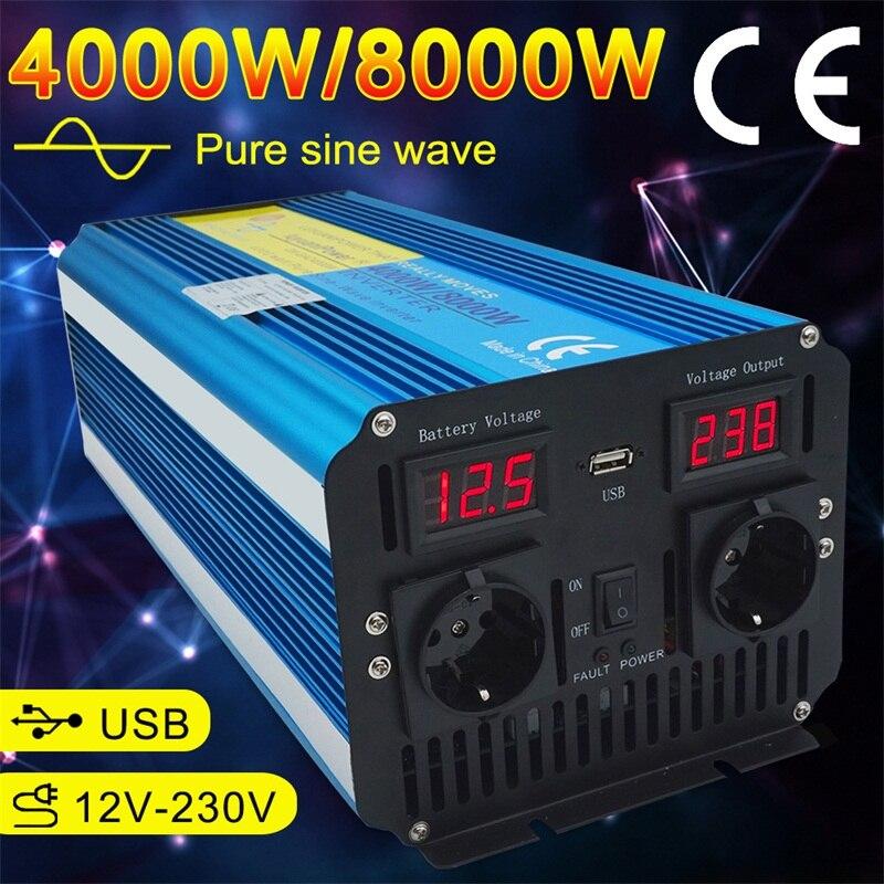 Dual LED Display 8000W pure sine wave power inverter DC 12V/24V TO AC 220V/230V/240V with 3.1A USB dual EU socket