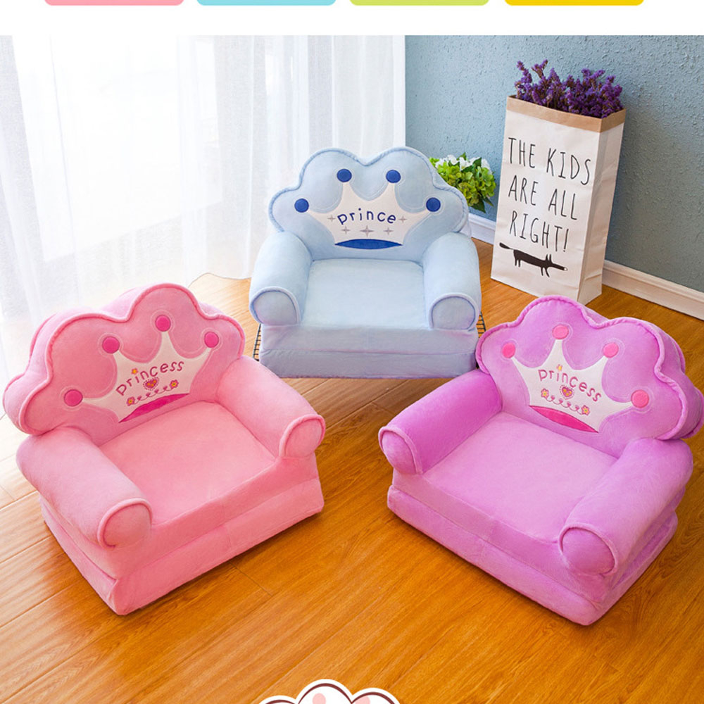 Kid Cartoon Foldable Sofa Baby Folding Crown Seats Chair Lie Infant With Filling Portable Children soft Plush Seat Cushion Toys
