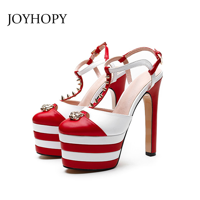 1c90847a 2018 Summer Stripe 16cm Super High Heels T-Strap Gladiator Sandals Women  Party Wedding Thick Heels Rivet Platform Shoes WS1726