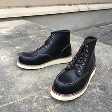 Goodyear-Welted Vintage Genuine Leather Ankle Motorcycle Boots Top Quality Wings Round Toe Men Casual Dress Work Red Shoes
