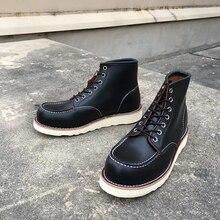 Goodyear Welted خمر جلد طبيعي الكاحل دراجة نارية الأحذية أعلى جودة أجنحة جولة تو الرجال فستان كاجوال أحذية العمل الأحمر الأحذية