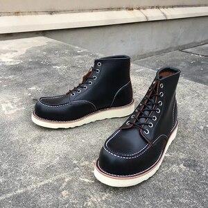Image 1 - Goodyear Welted خمر جلد طبيعي الكاحل دراجة نارية الأحذية أعلى جودة أجنحة جولة تو الرجال فستان كاجوال أحذية العمل الأحمر الأحذية