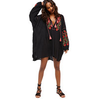 2018 New Spring Shirt Dress Floral Embroidered V Neck Tassel Mini Loose Casual Beach Bohemian Chic