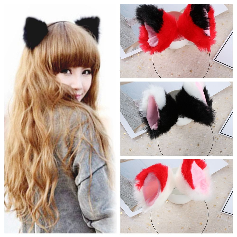 HOOH Girls Night Party Club Hairbands Fur Cat Animal Ear Pattern Headbands Bell Clips Women Ear Hair Hoop Hair Accessories