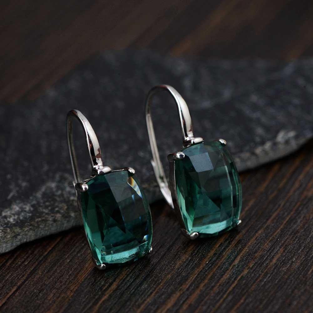 FNJ 925 Silver Earrings for Women Jewelry Crystal Stone 100% S925 Sterling Silver boucle d'oreille Drop Earring