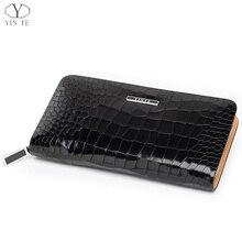 YINTE Leather Men's Clutch Wallets Zipper Wallet Leather Black Bag Fashion Men Passport Purse Card Holder  Men Wrist Bags T017-2