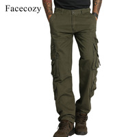 Facecozy Men Autumn Multi Pocket Tactical Military Trousers Solid Color High Quality Cotton Blend Pantalone Outdoor