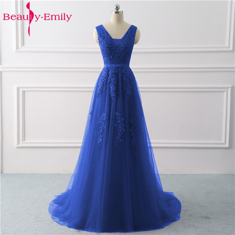 Beauty Emily Lace V-neck Long Evening Dresses 2019 Sexy Open Back Prom Gowns Tulle Sleeveless Pleated Party Dress robe de soiree Multan