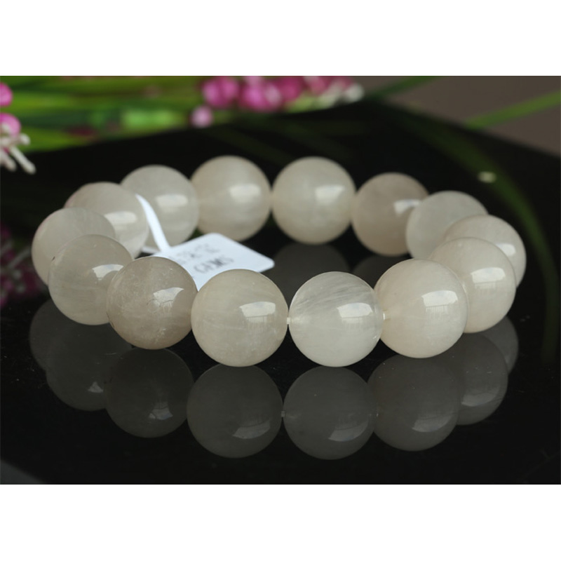 купить Free Shipping Genuine Natural White Rabbit Hair Rutile Quartz Finished Stretch Men'S Bracelet Round Big beads 12-15mm 03456