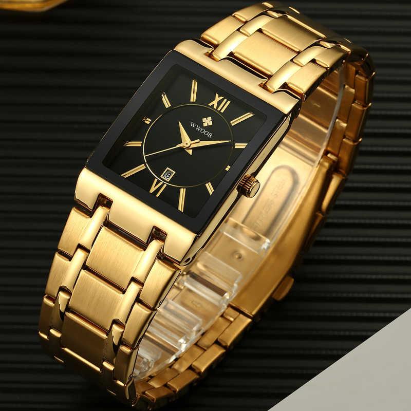WWOOR Mens שעונים למעלה מותג יוקרה זהב כיכר אנלוגי קוורץ שעון גברים שעוני יד עמיד למים זהב זכר שעון יד גבר שעון