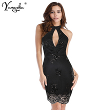2019 New Arrivals Summer Vintage Gold Sequned Dress Women Sexy Backless Sleeveless Halter Bodycon Evening Party Dresses