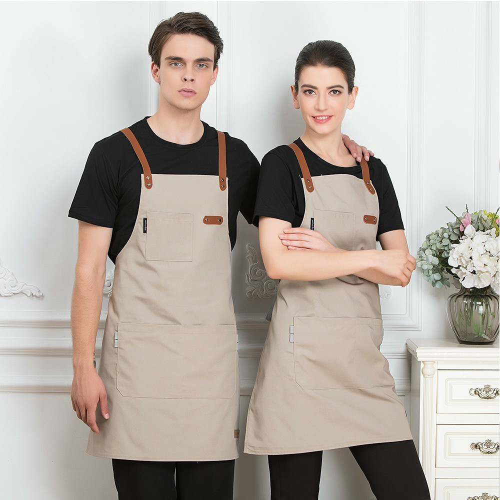 Unisex Fashion Chef Cook Kitchen Apron Coffee Shop Hairdresser Sleeveless Work Uniform Bib Work Clothing Antifouling Aprons