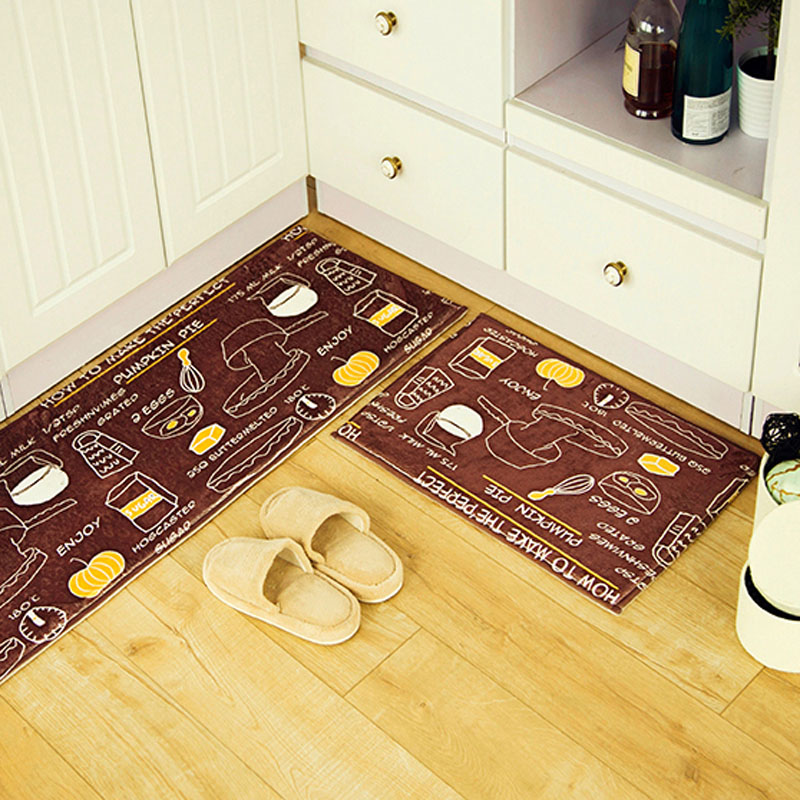 Brown Breakfast Food Design Suede Floor Floor Mat 3