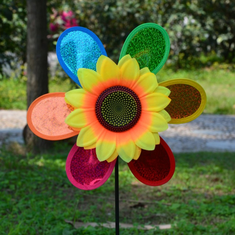 OOTDTY Colorful Sequins Sunflower Windmill Wind Spinner Home Garden Yard Decoration