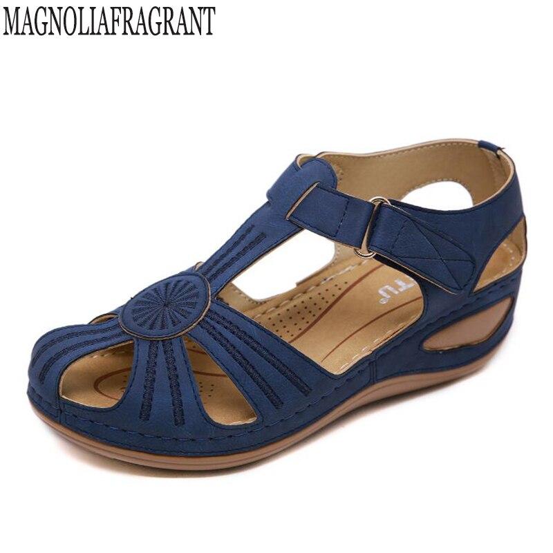 Sandales Tongs Femmes Plates Compensees orthopediques Talons Cuir Fashion Open Toe Ankle Wedges Chaussures de Plage Bande /élastique Roman