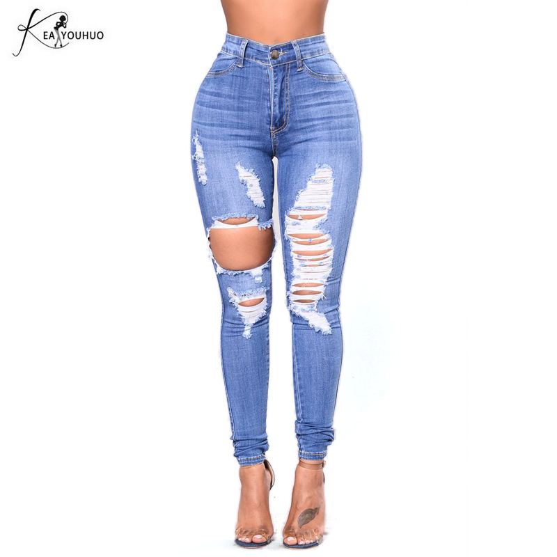 New 2017 High Waist Ripped Jeans For Women Skinny Hole Denim Pencil Pants Stretch Jeans Women Plus Size Femme Women's Blue Pants  2017 women blue skinny jeans new fall fashion pencil pants denim strech hole ripped high waist plus size jeans american apparel