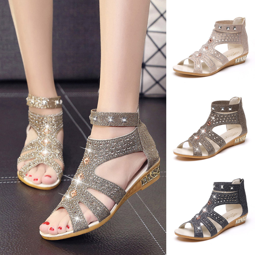 Spring Summer Ladies Women Wedge Sandals Fashion Fish Mouth Hollow Roma ShoesSpring Summer Ladies Women Wedge Sandals Fashion Fish Mouth Hollow Roma Shoes