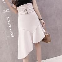 High Waist Irregular Summer Skirt Asymmetrical Bodycon Midi Skirt Pastel Office Work Women's Skirts Pastel Sarafan Jupe