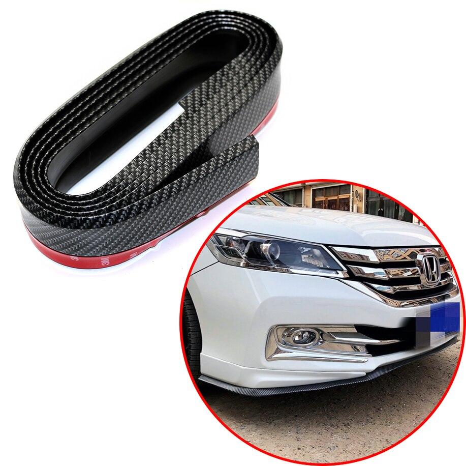 2,5 M de ancho de parachoques del coche de labios de goma del coche de parachoques protectores Exterior molduras parachoques labio de negro o de fibra de carbono color