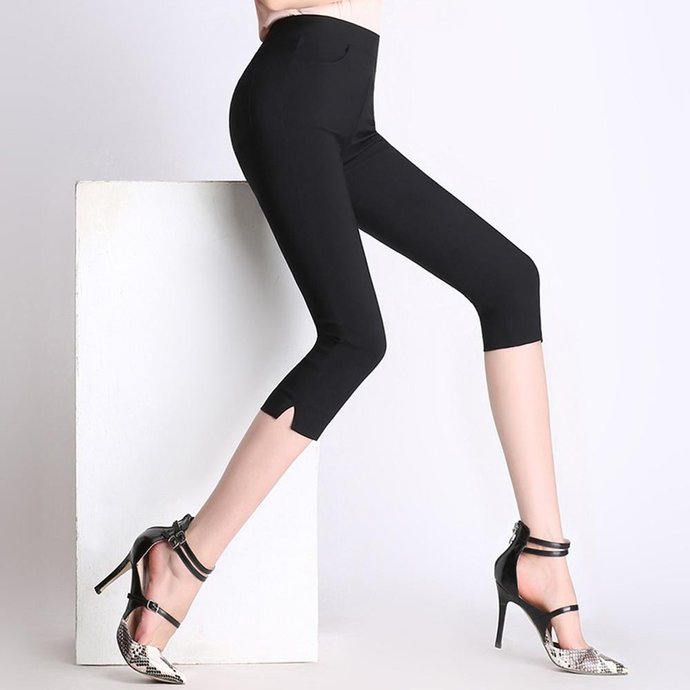 women summer   pants     capris   high waist skinny pencil   pants   elastic plus size 4XL black white cotton   pants   female casual leggings