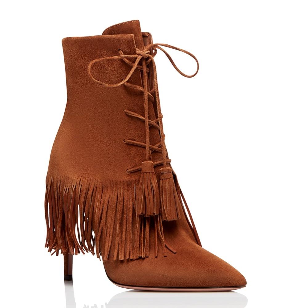 2019 red Lace D'hiver Brown Mince Automne Rouge Fringe Bottes Talon Courts Chaussures Haut Brun Up Cheville Gland Bout Pointu Femmes Dames Bottillons q8w6F1q