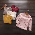 Fashion Winter Girls Clothes Polka Dot Thermal Girls Bottoming Shirts Thick Fleece Warm Children Top Tees 2-6y Children Clothing