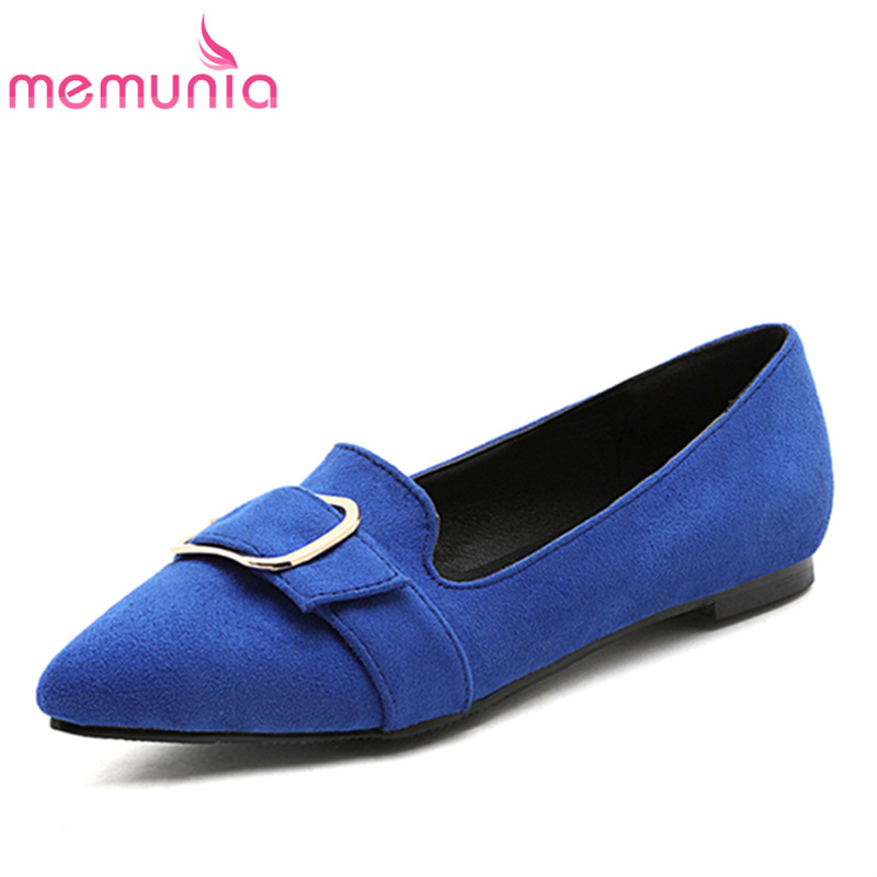 MEMUNIA Women flats shoes solid pointed toe fashion flock spring autumn single shoes  college style big size 34-47 memunia 2017 fashion flock spring autumn single shoes women flats shoes solid pointed toe college style big size 34 47