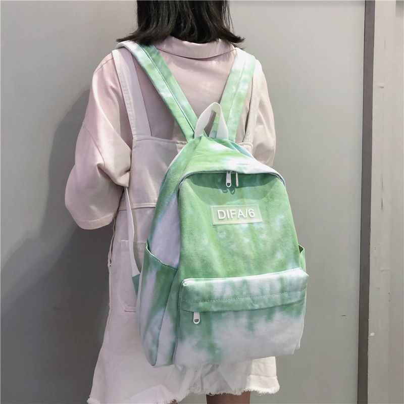 DCIMOR Tie-dyed Canvas Women Backpack High Quality Schoolbags For Teenage Girls Travel Backpack College Student Book Bag Mochila