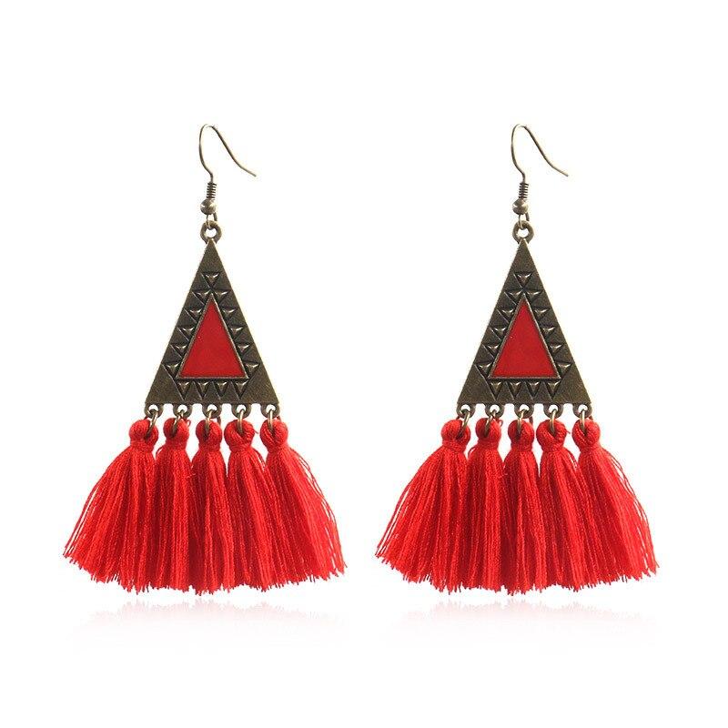 Ruifan 14 Color Drip oil Triangle Long Tassel Earring for Women Ethnic style Bohemian Earrings Statement Boho Jewelry YEA317 in Drop Earrings from Jewelry Accessories