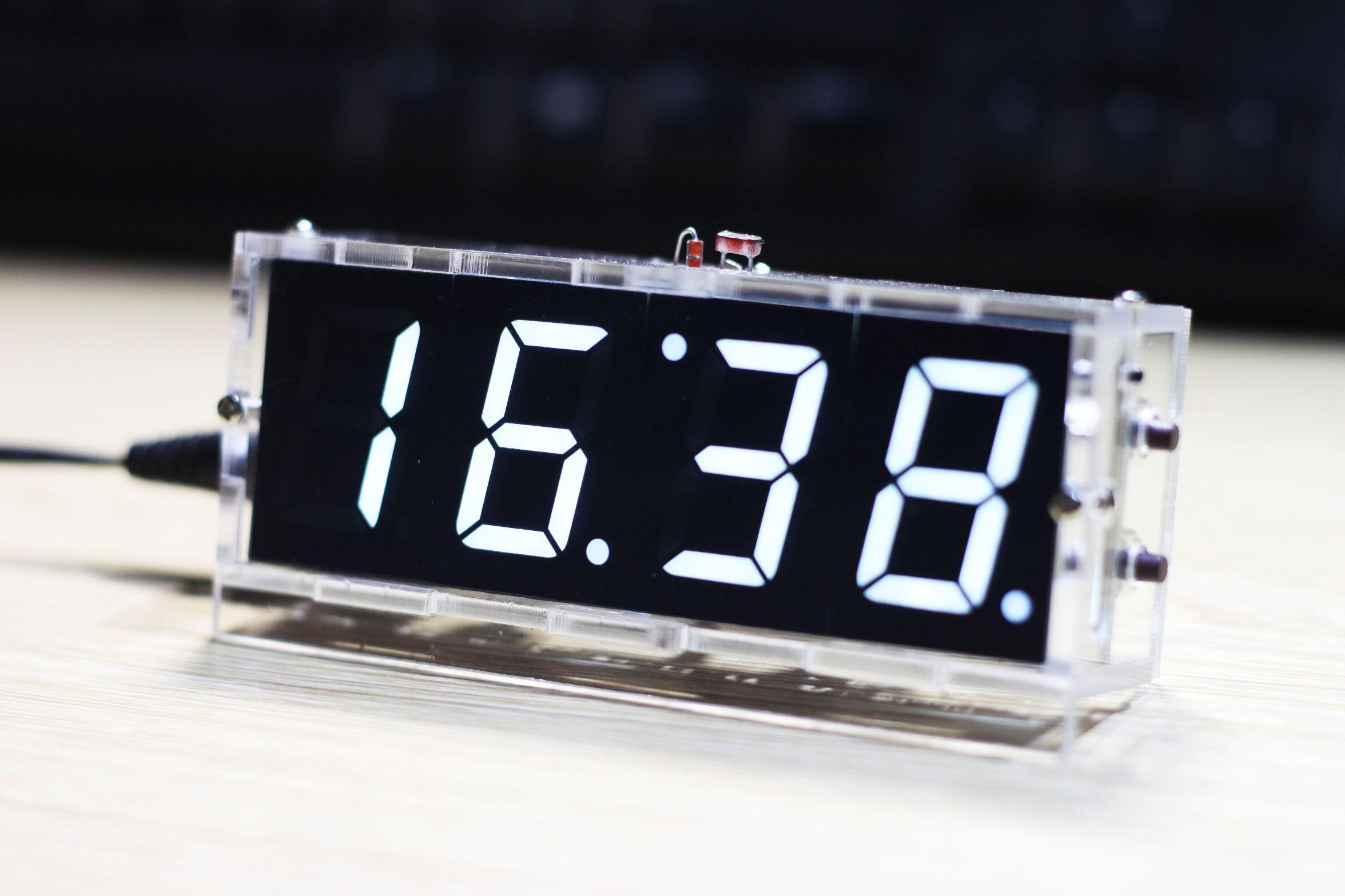 Weiß LED Elektronische Uhr Mikrocontroller Digitale Uhr Zeit Thermometer DIY Kit Mit PDF Tutorial